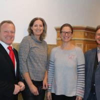 v.l.n.r.: Bgm. Thomas Wörz, Landratskandidatin Luise Bader, Ortsvereinsvorsitzende Katja Vielweib, Gerd Olbrich